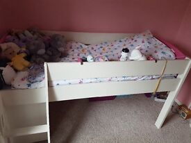 White and pink MiZone mid- sleeper cabin bed in very good condition
