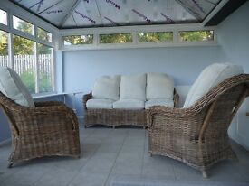 Conservatory three piece cane suite