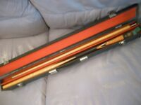 beautiful quality bce two piece snooker cue & double sided case , excellent condition,always in case