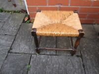 antique Vintage Retro Mid Century Antique rush Foot Stool table