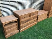 Beautiful solid pine bedroom cabinets, refurbished, set or separate, chest/dresser, bedside,from £50