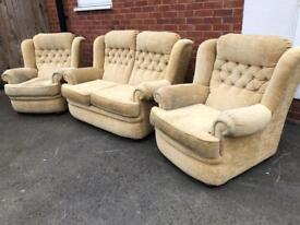 Gorgeous cream fabric orthopaedic sofa set