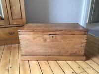 Antique Pine Chest Kist Blanket Box wooden trunk ottoman Victorian vintage wood solid