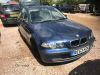 2003 BMW 316TI SE Compact Blue 1.8 Petrol Manual Breaking For Spares Parts