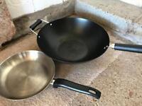 Ken Hom wok and a frying pan