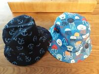 2 x M & S Pure Cotton Reversible Summer Hats 6 - 18 Months Brand New!