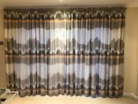Living room curtains cream khakis and peach 90 inch drop with lining