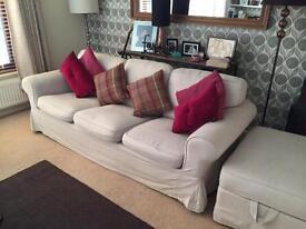Ikea Ektorp sofas and footstools