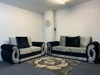 Pending delivery Silver & Black crushed velvet sofas 3&2 delivery 🚚 sofa suite couch furniture