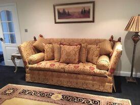 David Gundry Manhattan Major 4 Seater Sofa Gold drop Arm knole Rrp £5,300