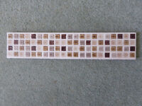 Ceramic Border Tiles x 9 248mm x 30mm Cream and Brown