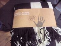 coastal stripe knitted throw black & cream with fringes 127cm x152cm new 4 available seperat