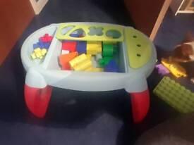 Lego table and mega blocks