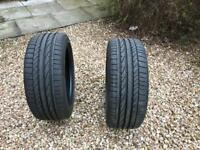 2 x Bridgestone Potenza Tyres 225-45-17 nearly new