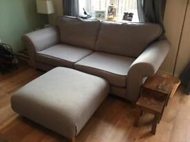 3 seater sofa and footstool (Angelic Range at DFS)