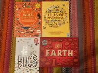 Childrens books. Atlas of adventures, under the earth , the book of bugs .