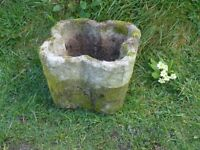 Vintage Quatrefoil Shaped Cast Stone Garden Planter Garden Pot