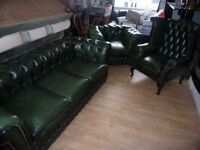 CHESTERFIELD 3 PIECE SUITE IN GOOD CLEAN CONDTION