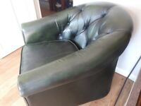 Green leather button back tub chair