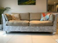 Sofa - rattan effect, painted white