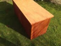 attractive filing cabinet with excellent table top & sliding doors; wood/formica