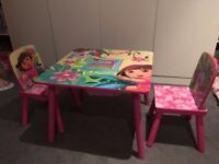 Dora The Explorer wood kid table and 2 chairs
