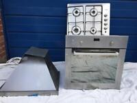 Gas hob integrated cooker electric hood extractor