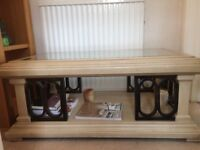 Cream textured coffee table with new glass