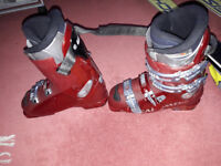 Girls ski racing boots, stealth and training shorts