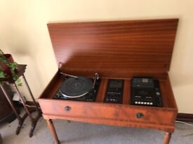 music centre, dynatron, turntable and casette player