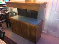 4ft 250litre Aquarium with oak cabinet/hood +Sump+Overflows