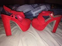 Red chunky heels
