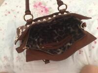 Karen Millen brown leather bag with golden studs