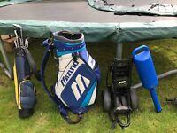 Golf Bag, Compact Trolly, Kids Set and Practice Ball Holdser with circa 40 Balls