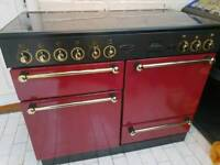 Rangemaster 110 All Electric Cooker in Cranberry Red with Rangemaster Hood