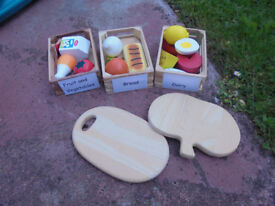 Set of wooden play food