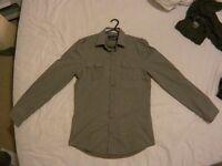 River Island shirt. XS. Grey with white stripes, UNWORN