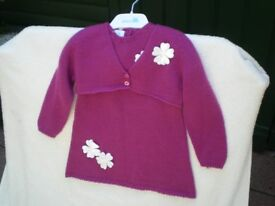 Baby Girls Knitted Dress and Cardi.