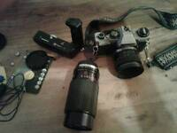 Olympus om10 camera with standard and 70/210mm sirus mc lenses plus extra items