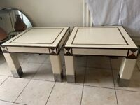 2 tables high class finish with brass trim and stinly steel bottom legs