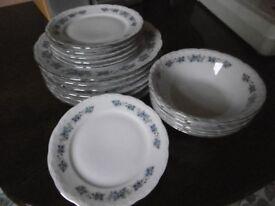 NEW Denby intro stripe dark blue cereal/soup bowls, large side salad ...