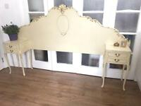 FRENCH LOUIS STYLE BEDSIDE TABLES FREE DELIVERY +head board