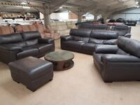 PRE OWNED Rosa 3 Seater Sofa + 2 Seater Sofa + Armchair + Footstool in Brown Leather