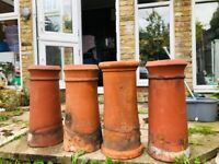 5 large clay chimney pots