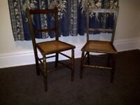 2 Wooden Bedroom Chairs with Cane Seats - new condition