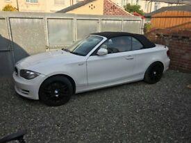 White BMW 118 Diesel Convertible FSH Red Leather Interior