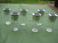 6 Chrome Top Glass Spice/Herb Jars
