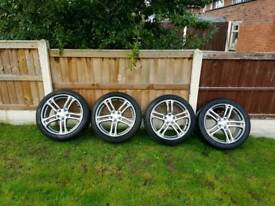 "Audi 18"" alloy wheels full refurb with rim protector and 4 pre-owned tyres fited"