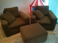 Comfy Large American Armchairs x2 + Ottoman & Matching Cushions