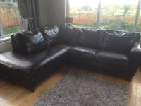 Price reduced! Leather Corner Sofa / Settee in dark brown